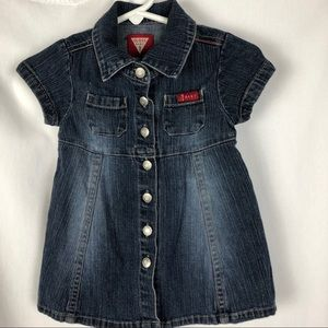 4/$25 Guess Baby Blue Jean Dress, 6/9 M, Snap Open